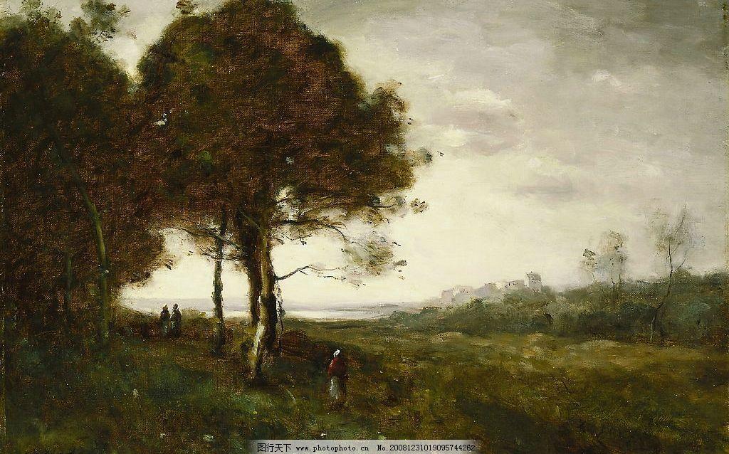 柯罗 林边小径 法国 古典 风景 油画 文化艺术 绘画书法 设计图库 72