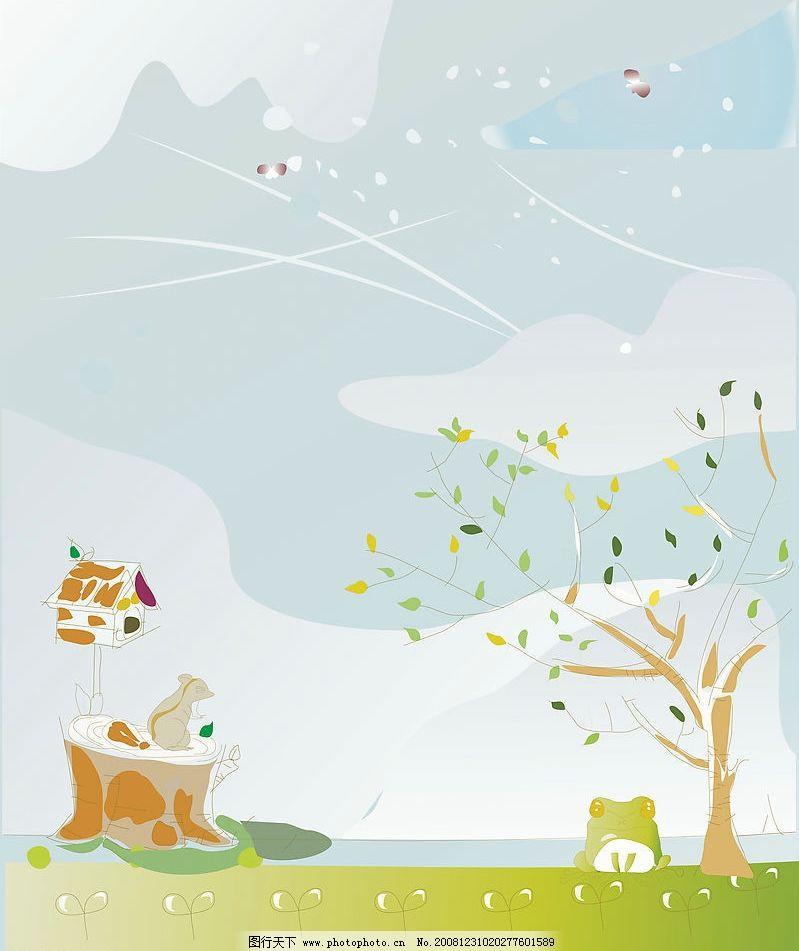 卡通 背景      蓝天 白云 草地 草坪 小树 树 树叶 小屋 风 圣诞