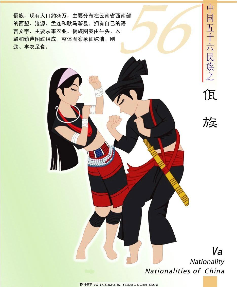 56个民族 佤族 民族文字介绍 psd分层素材 源文件库 150dpi psd