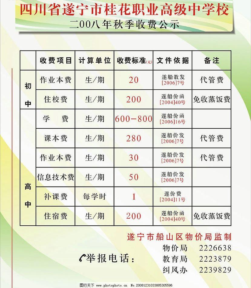 学校收费公示栏 其他矢量 矢量素材 矢量图库