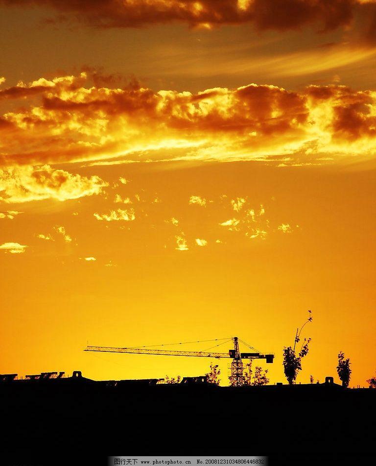 晚霞 夕阳 霞光 塔吊 自然景观 自然风景 摄影图库 72dpi jpg