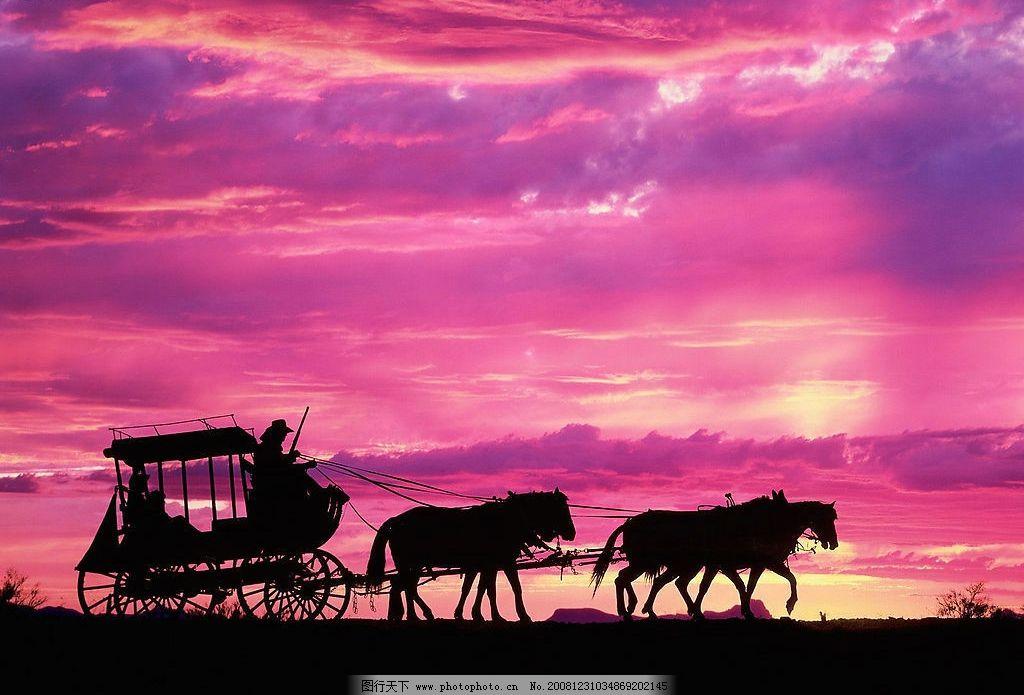夕阳 马车 自然景观 自然风景 摄影图库 72dpi jpg